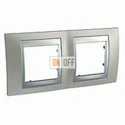 Рамка двойная, для горизонт. монтажа Schneider Unica TOP никель-алюминий MGU66.004.039