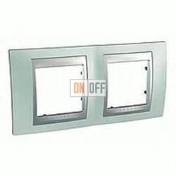 Рамка двойная, для горизонт. монтажа Schneider Unica TOP флюорит-алюминий MGU66.004.094