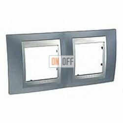 Рамка двойная, для горизонт. монтажа Schneider Unica TOP грей-алюминий MGU66.004.097