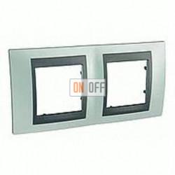 Рамка двойная, для горизонт. монтажа Schneider Unica TOP флюорит-графит MGU66.004.294