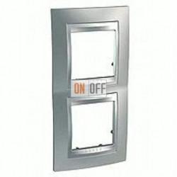Рамка двойная, для вертик. монтажа Schneider Unica TOP хром матовый-алюминий MGU66.004V.038