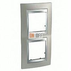 Рамка двойная, для вертик. монтажа Schneider Unica TOP никель-алюминий MGU66.004V.039