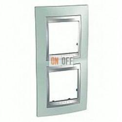 Рамка двойная, для вертик. монтажа Schneider Unica TOP флюорит-алюминий MGU66.004V.094