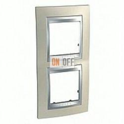 Рамка двойная, для вертик. монтажа Schneider Unica TOP опал-алюминий MGU66.004V.095