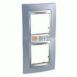 Рамка двойная, для вертик. монтажа Schneider Unica TOP берилл-алюминий MGU66.004V.098
