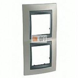 Рамка двойная, для вертик. монтажа Schneider Unica TOP никель-графит MGU66.004V.239