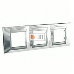 Рамка тройная, для горизонт. монтажа Schneider Unica TOP хром-алюминий MGU66.006.010