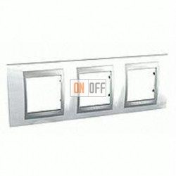 Рамка тройная, для горизонт. монтажа Schneider Unica TOP нордик-алюминий MGU66.006.092