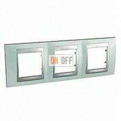 Рамка тройная, для горизонт. монтажа Schneider Unica TOP флюорит-алюминий MGU66.006.094