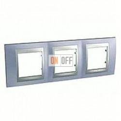 Рамка тройная, для горизонт. монтажа Schneider Unica TOP берилл-алюминий MGU66.006.098