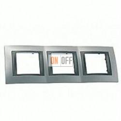 Рамка тройная, для горизонт. монтажа Schneider Unica TOP хром матовый-графит MGU66.006.238