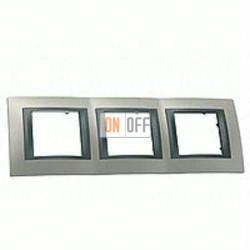 Рамка тройная, для горизонт. монтажа Schneider Unica TOP никель-графит MGU66.006.239
