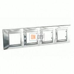 Рамка четверная, для горизонт. монтажа Schneider Unica TOP хром-алюминий MGU66.008.010