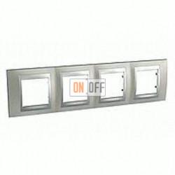 Рамка четверная, для горизонт. монтажа Schneider Unica TOP никель-алюминий MGU66.008.039