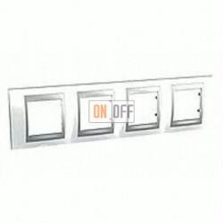 Рамка четверная, для горизонт. монтажа Schneider Unica TOP нордик-алюминий MGU66.008.092