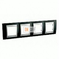 Рамка четверная, для горизонт. монтажа Schneider Unica TOP родий-алюминий MGU66.008.093