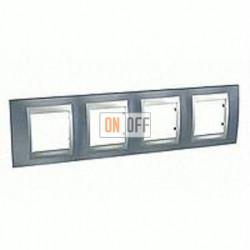 Рамка четверная, для горизонт. монтажа Schneider Unica TOP грей-алюминий MGU66.008.097