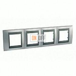 Рамка четверная, для горизонт. монтажа Schneider Unica TOP хром матовый-графит MGU66.008.238