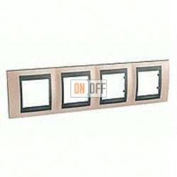 Рамка четверная, для горизонт. монтажа Schneider Unica TOP оникс-графит MGU66.008.296