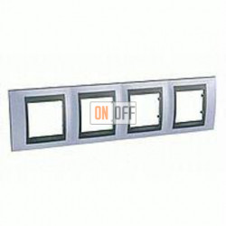 Рамка четверная, для горизонт. монтажа Schneider Unica TOP берилл-графит MGU66.008.298