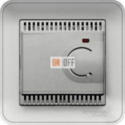 Регулятор теплого пола с датчиком пола в сборе с рамкой 10 А 230 В, Schneider W59 матовый хром TES-151-58