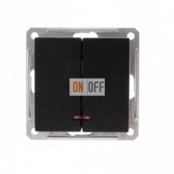 Выключатель двухклавишный с подсветкой 16 А 250 В, Schneider W59 черный бархат VS516-251-6-86