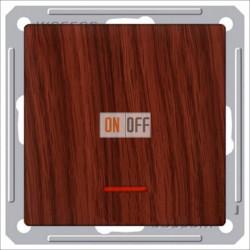 Переключатель одноклавишный с подсветкой (вкл/выкл с 2-х мест) 16 А 250 В, Schneider W59 мореный дуб VS616-157-9-86