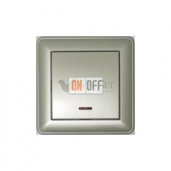 Выключатель одноклавишный перекрестный с подсветкой (вкл/выкл с 3-х мест) 16 А 250 В, Schneider W59 шампань VS716-159-4-86