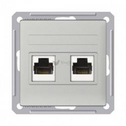 Розетка двойная телефон + компьютерная 5е (RJ11+RJ45), Schneider W59 матовый хром RSI-251TK5E-5-86