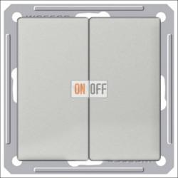 Переключатель двухклавишный (вкл/выкл с 2-х мест) 16 А 250 В, Schneider W59 матовый хром VS616-256-5-86