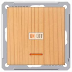 Переключатель одноклавишный с подсветкой (вкл/выкл с 2-х мест) 16 А 250 В, Schneider W59 сосна VS616-157-7-86