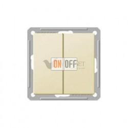 Переключатель двухклавишный (вкл/выкл с 2-х мест) 16 А 250 В, Schneider W59 слоновая кость VS616-256-2-86