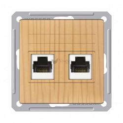 Розетка двойная телефон + компьютерная 5е (RJ11+RJ45), Schneider W59 сосна RSI-251TK5E-7-86