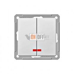 Выключатель двухклавишный с подсветкой 16 А 250 В, Schneider W59 белый VS516-251-1-86