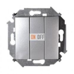 Выключатель трехклавишный, 10А, 250В, алюминий 1591391-033