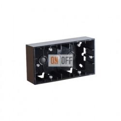 Коробка двойная для накладного монтажа, 2 поста,  чёрный глянец 1590752-032