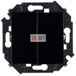 Двухклавишный выключатель Simon 15 (чёрный) 1591398-032