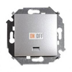 Выключатель одноклавишный Simon 15 с подсветкой (алюминий) 1591104-033