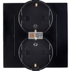 Розетка двойная с заземлением моноблок, 16А, 250В, винтовой зажим, чёрный 1590459-032