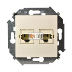 Компьютерная и телефонная розетка Simon 15 RJ-11 и RJ-45 (слоновая кость) 1591590-031