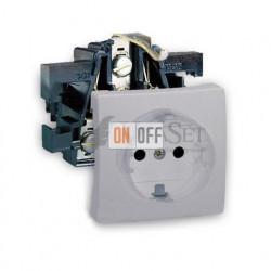 Розетка электрическая с заземлением  16 А 250 В~ Simon 73 Loft, алюминий 73432-39 - 73041-63