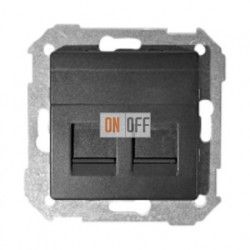 Розетка компьютер + телефон RJ11-RJ45 Simon 82 (графит) 75528-39 - 75540-39 - 82006-38