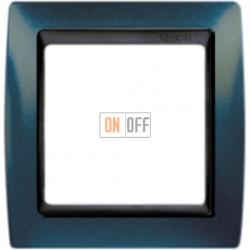 Рамка Simon 82 на 1 пост - синий металлик с черной вставкой 82814-64