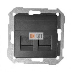 Розетка копмьютерная двойная RJ45 Simon 82 (графит) 75540-39 - 75540-39 - 82006-38