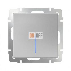 Выключатель одноклавишный проходной (из 2-х мест) с подсветкой  10 AX - 250 В, Werkel серебряный a029825