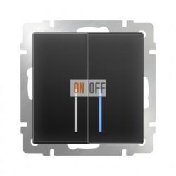 Выключатель двухклавишный проходной (из 2-х мест) с подсветкой 10 AX - 250 В, Werkel черный матовый a029877