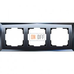 Рамка тройная Werkel Diamant, черное стекло a029845