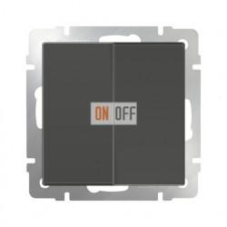 Выключатель двухклавишный проходной (из 2-х мест) 10 AX - 250 В, Werkel серо-коричневый a029874