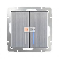 Выключатель двухклавишный проходной (из 2-х мест) с подсветкой 10 AX - 250 В, Werkel глянцевый никель a030793