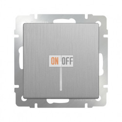 Выключатель одноклавишный с подсветкой 10 AX - 250 В Werkel, серебряный рифленый a035654